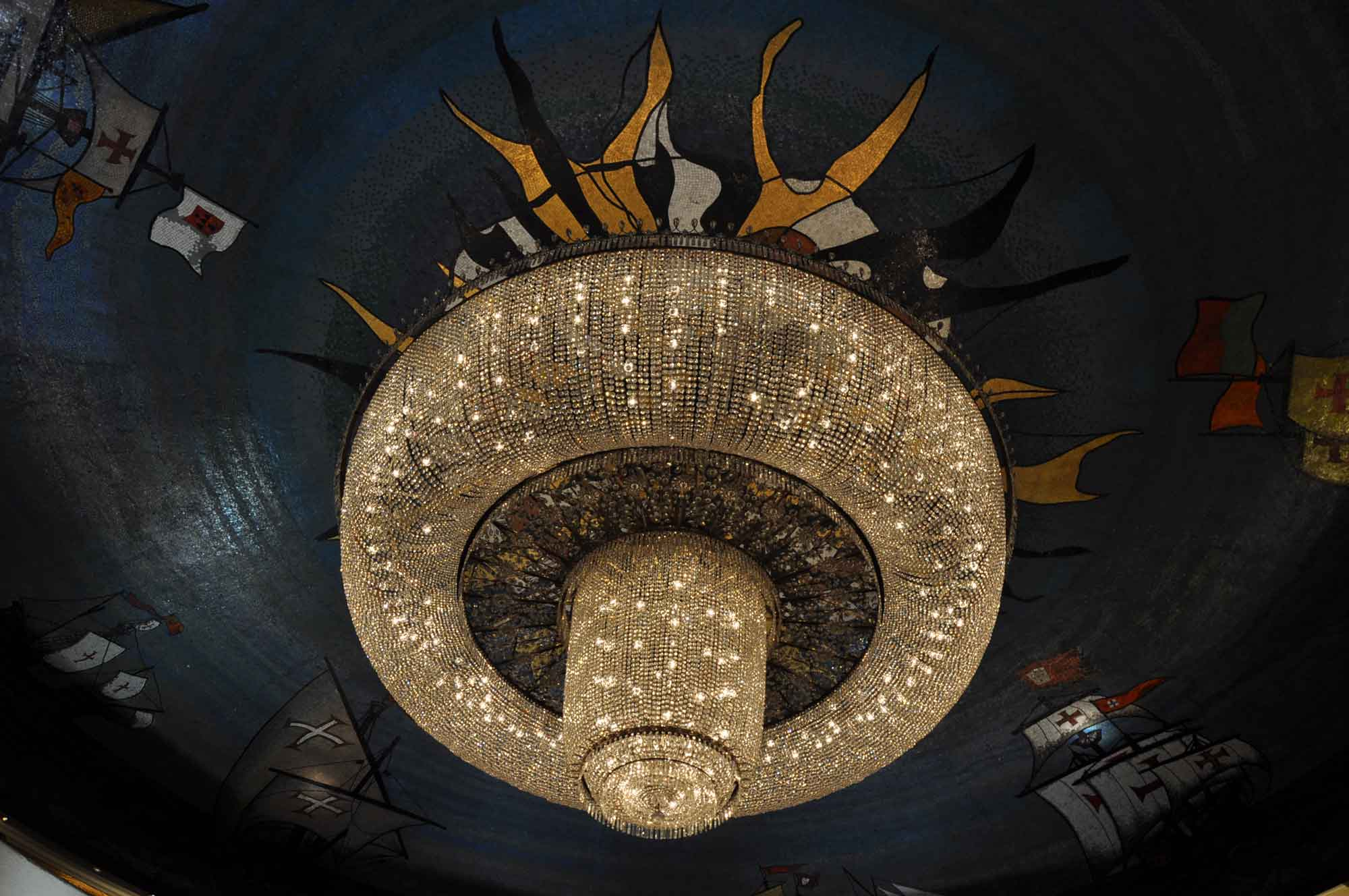 Hotel Lisboa chandelier with boats