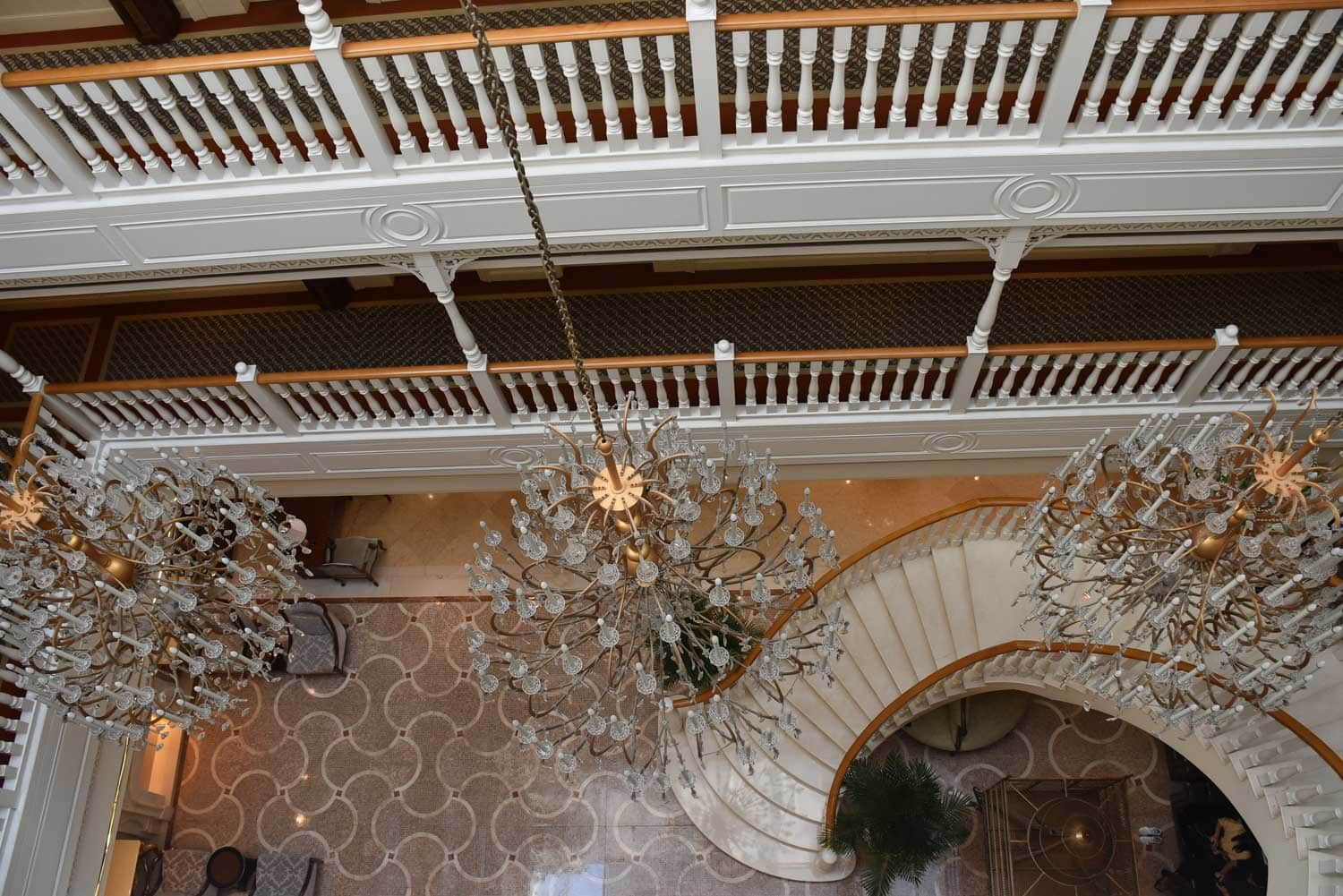 Rocks Hotel chandeliers and staircase