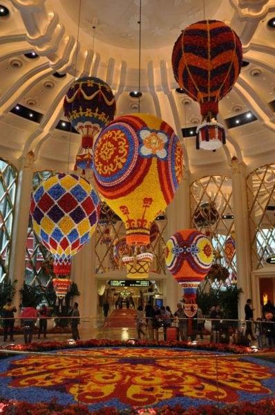 Wynn Palace flower hot air balloons