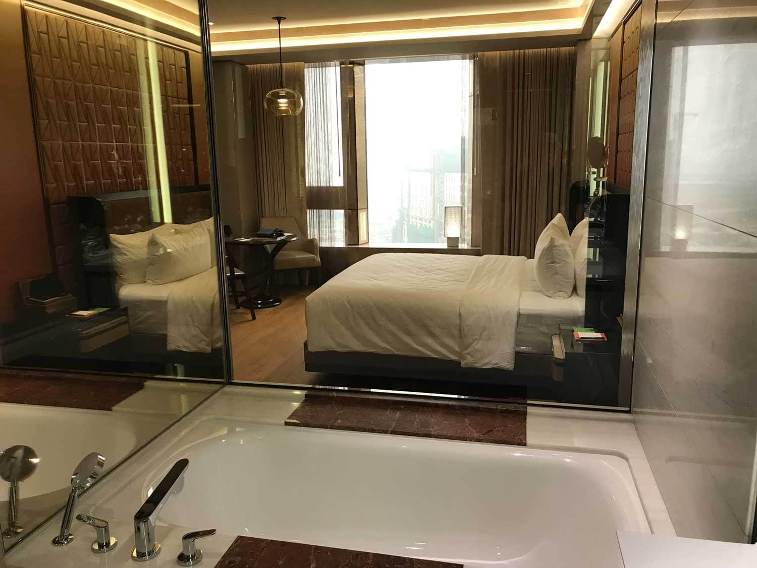 MGM Cotai Resort King room view from the bathroom