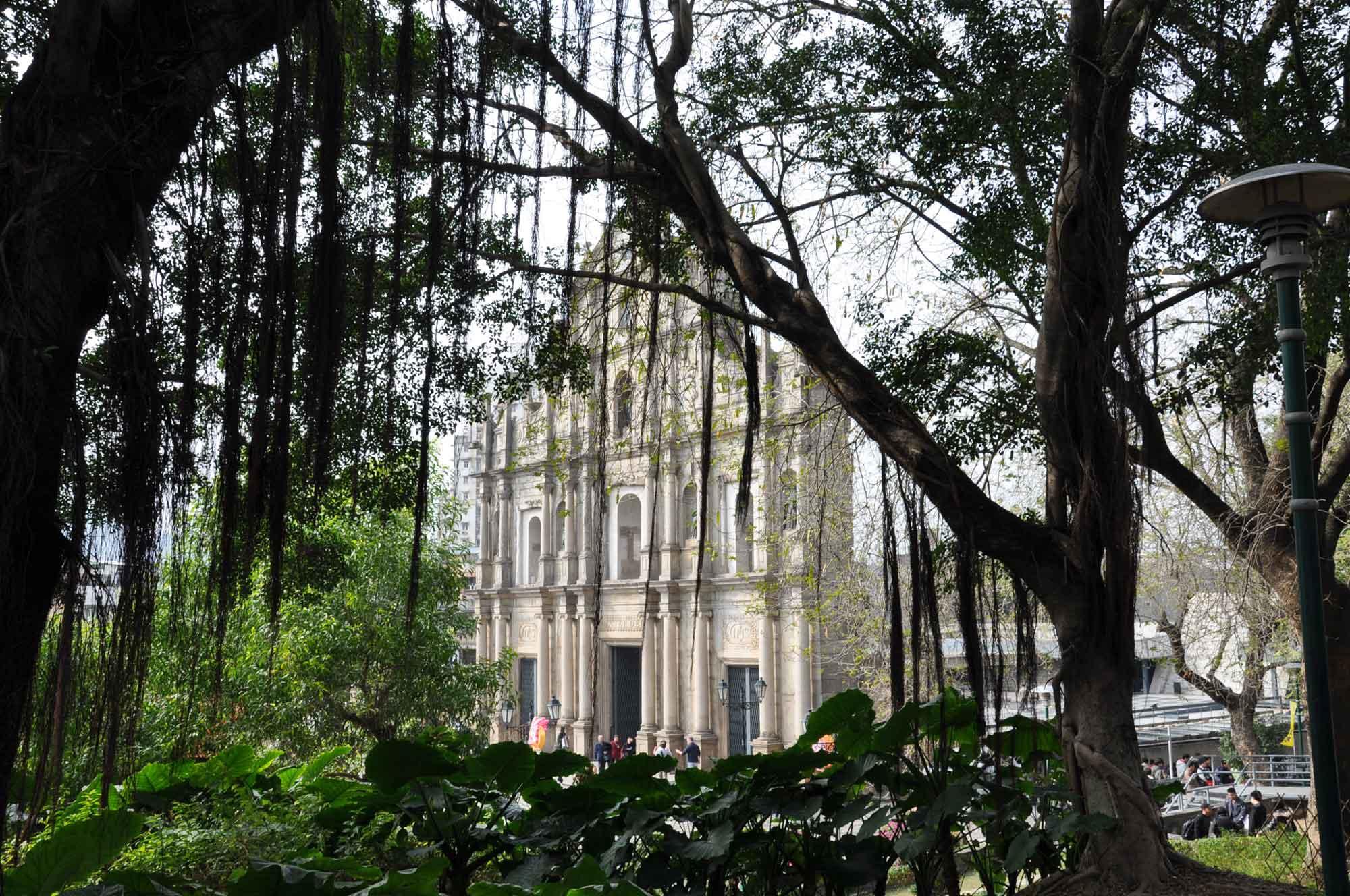 View of St. Paul's Macau through trees
