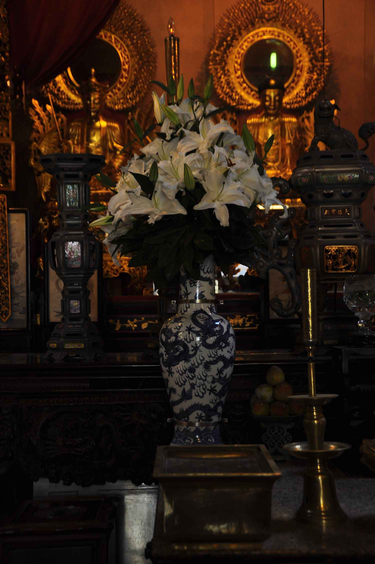 Temple of the King of Medicine flower vase and altar
