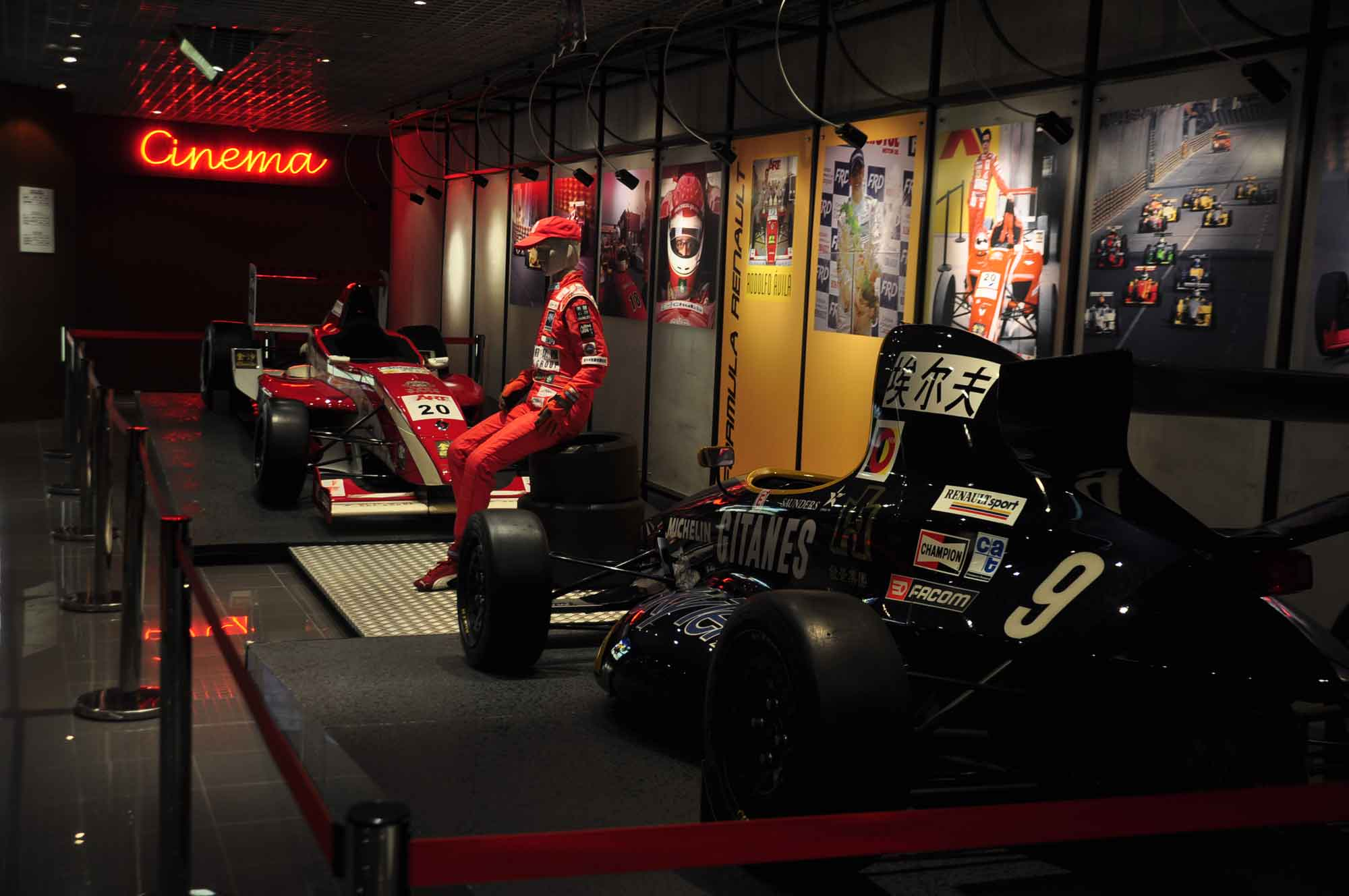 Grand Prix Museum sports cars and Cinema sign