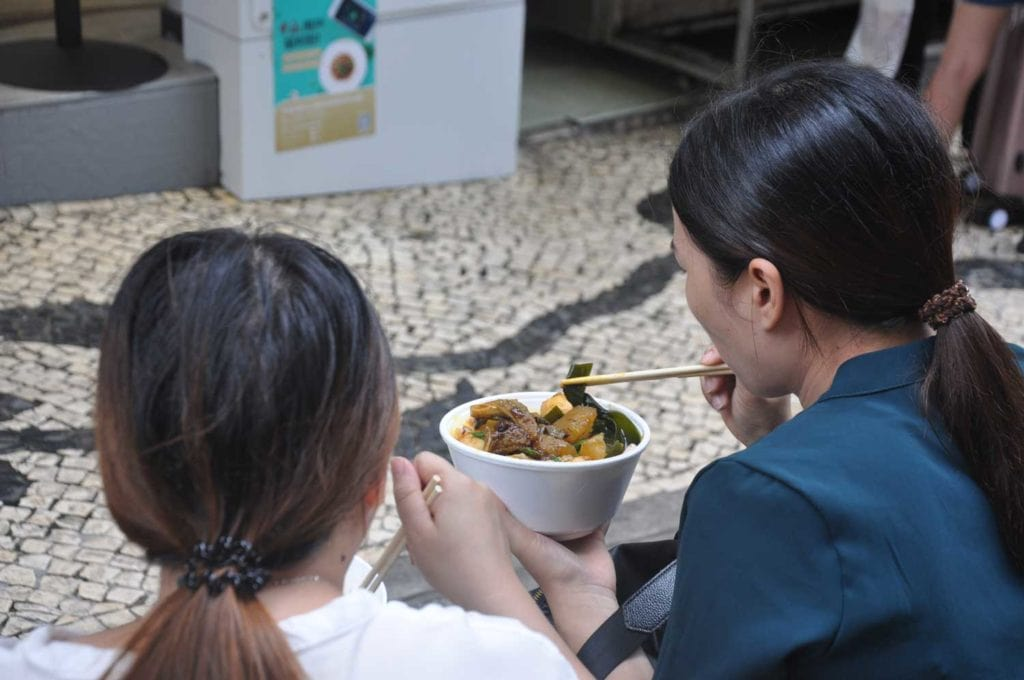 Macau street food: Curry fishballs