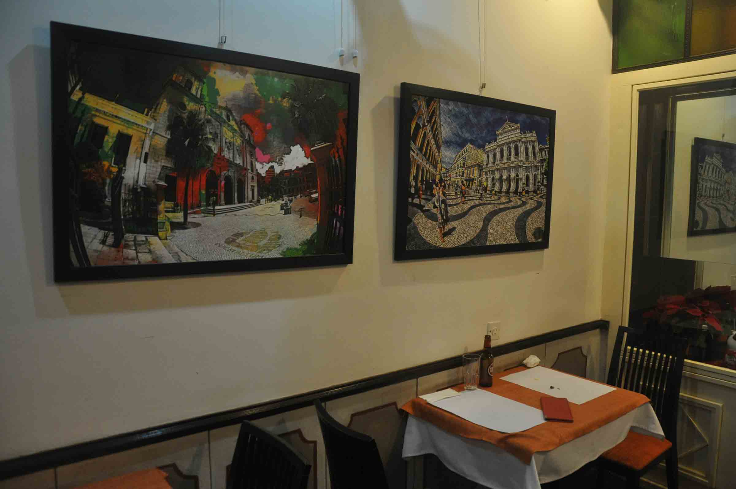 Ou Mun Cafe Macau tables and paintings