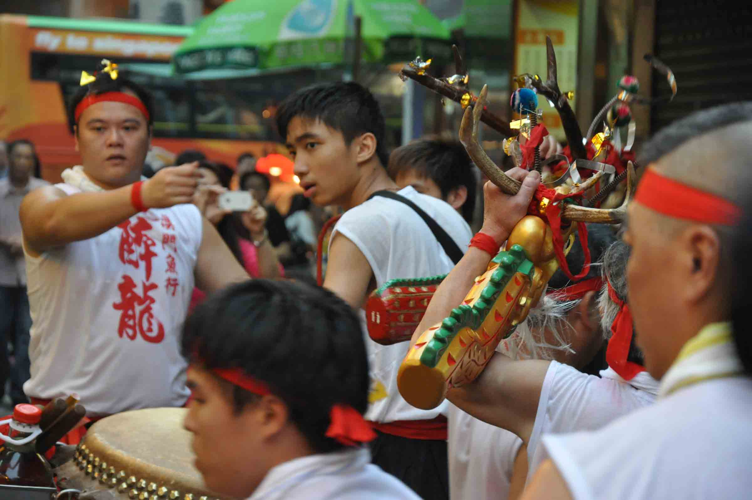 Feast of the Drunken Dragon Festival fisherman with drums