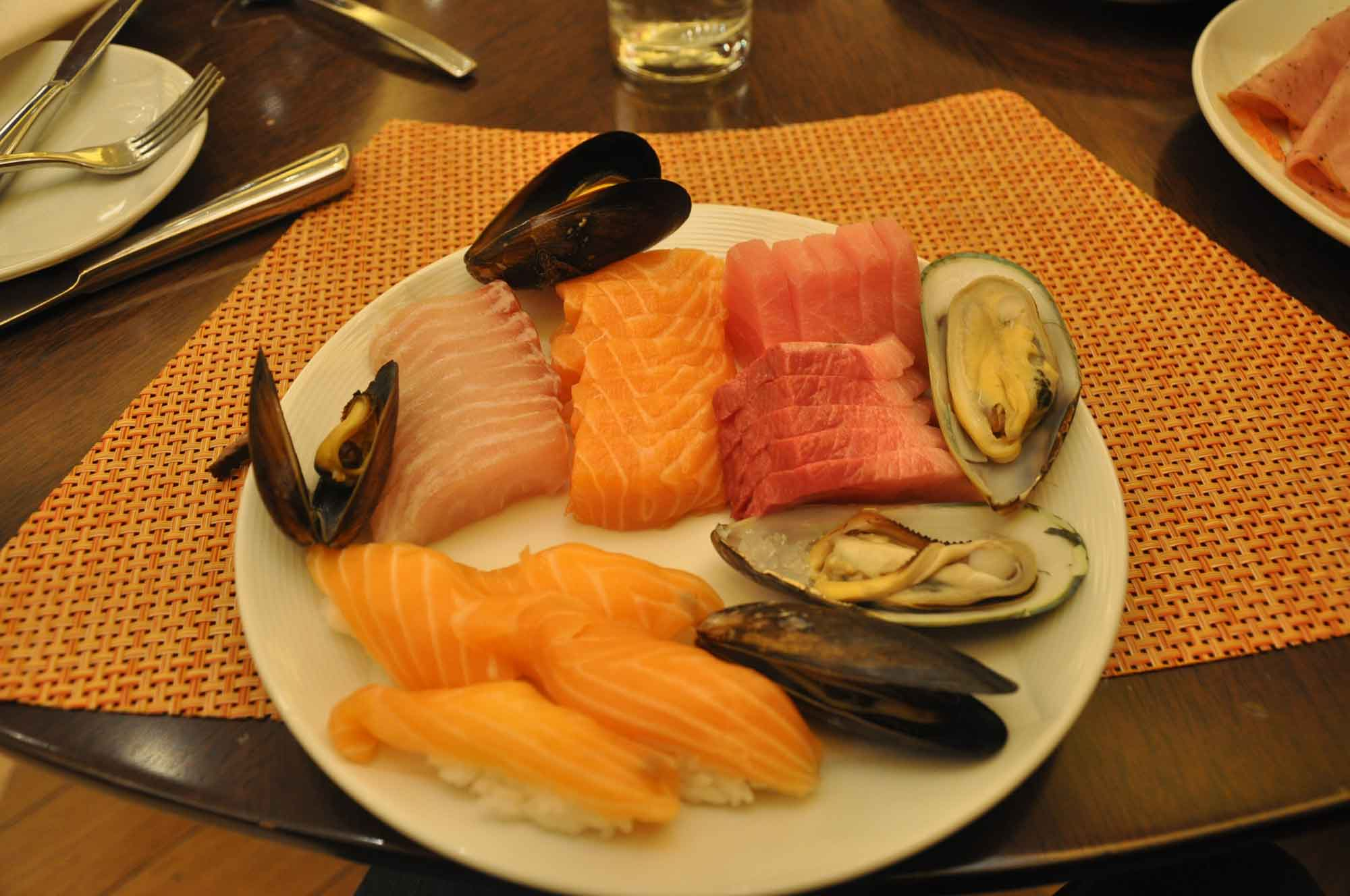 Grand Orbit Macau sashimi and oysters