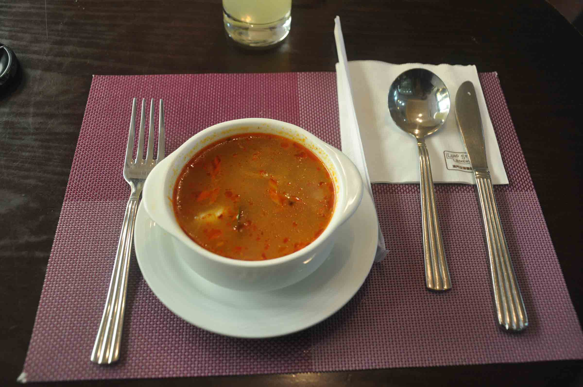 Lord Stows Garden Cafe tom yum kung soup