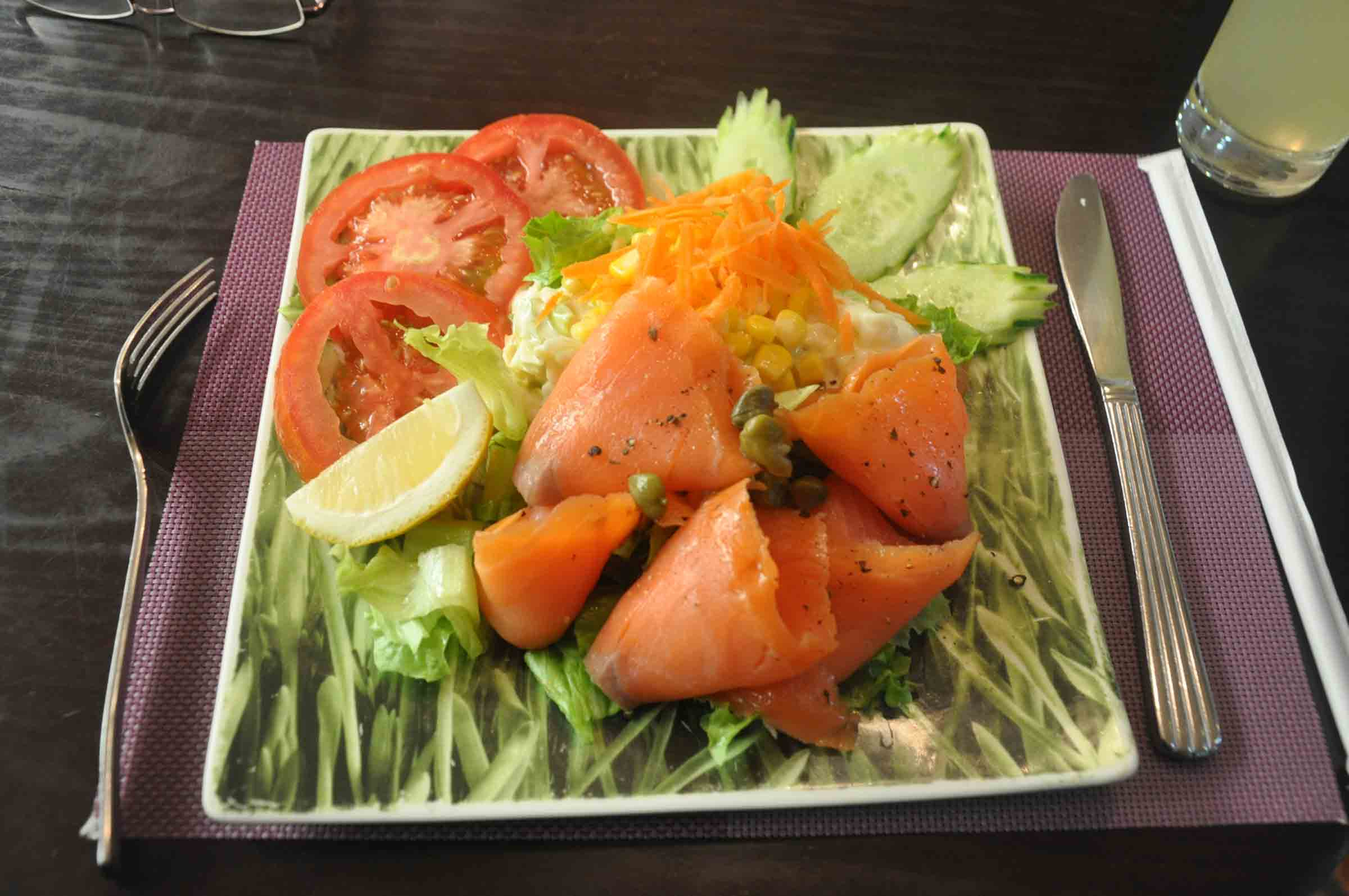 Lord Stows Garden Cafe smoked salmon salad