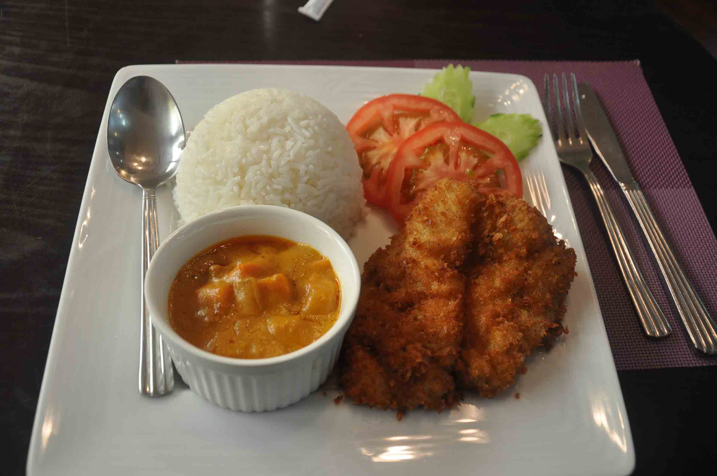 Lord Stows Garden Cafe fish fillet with rice