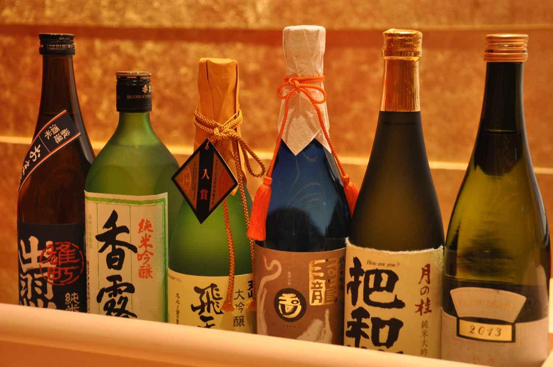 Macau Michelin Restaurants: Mizumi sake bottles
