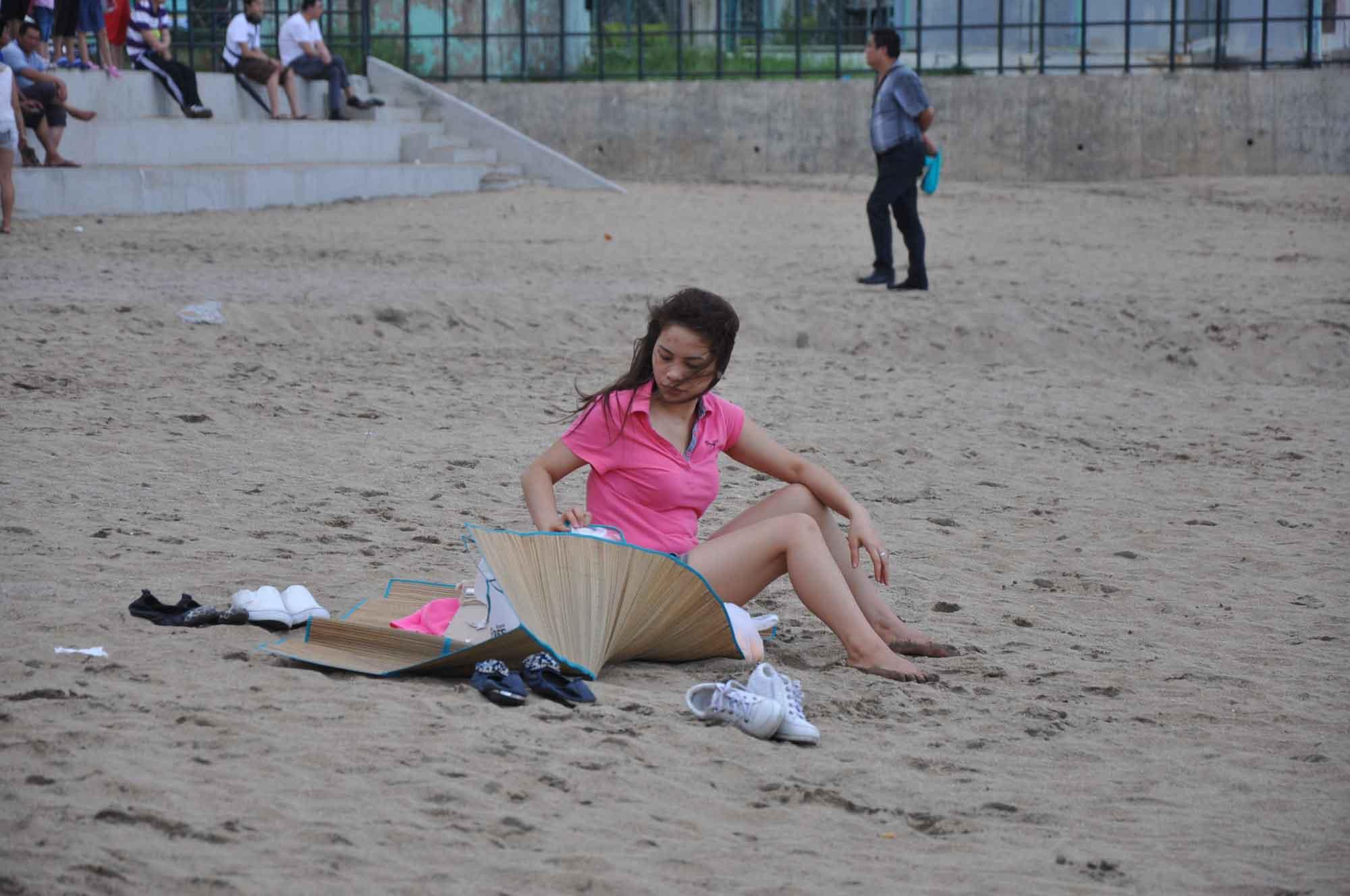 Hac Sa Beach Macau one girl in red