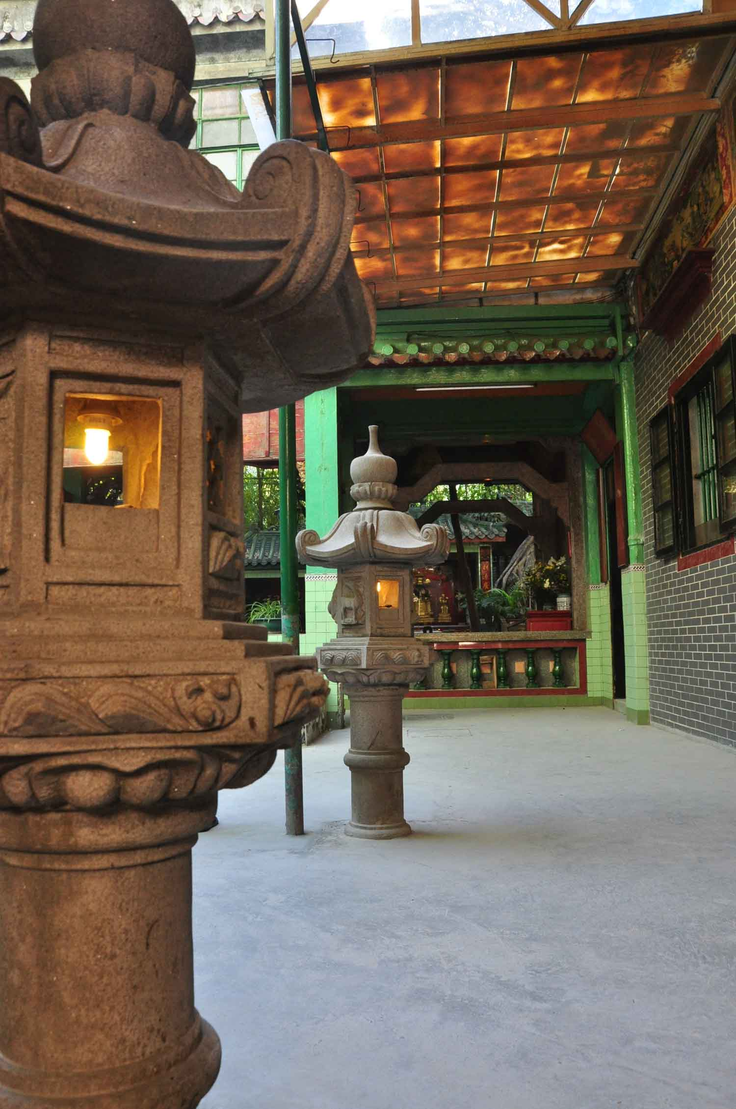 Temple of Bamboo stone lamps