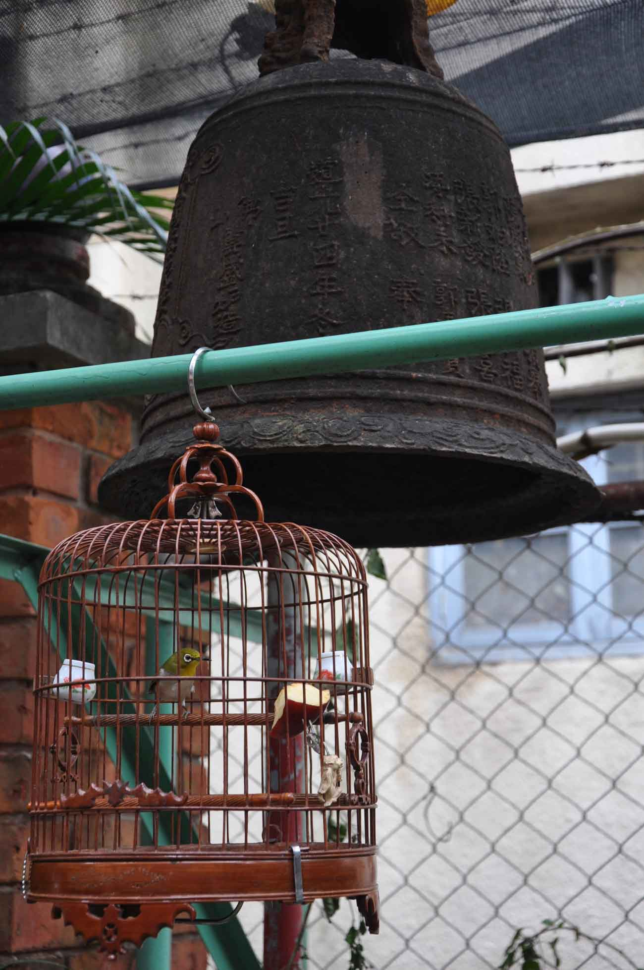 San Kiu Teahouse Macau bell and birdhouse