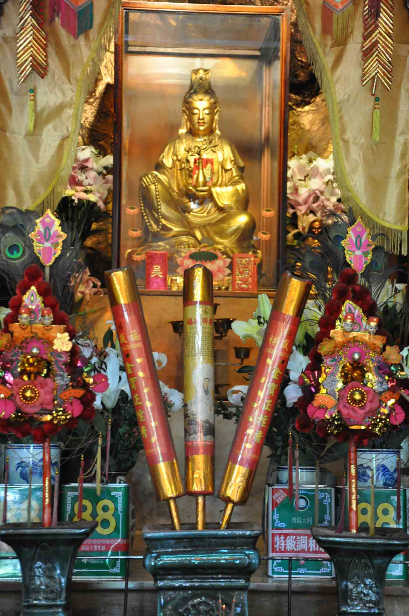 Kun Iam Temple altar and firecrackers