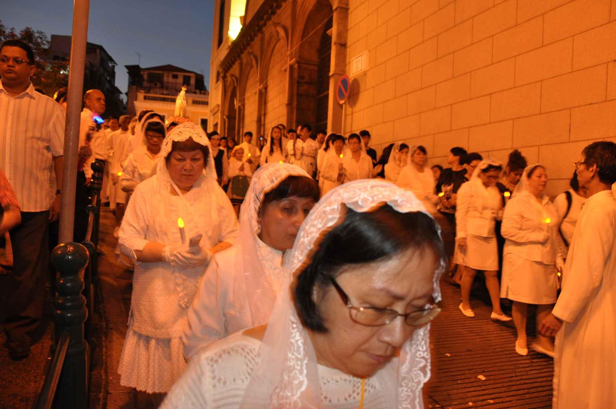 Macau's Our Lady of Fatima Procession outside of Cathedral Macau