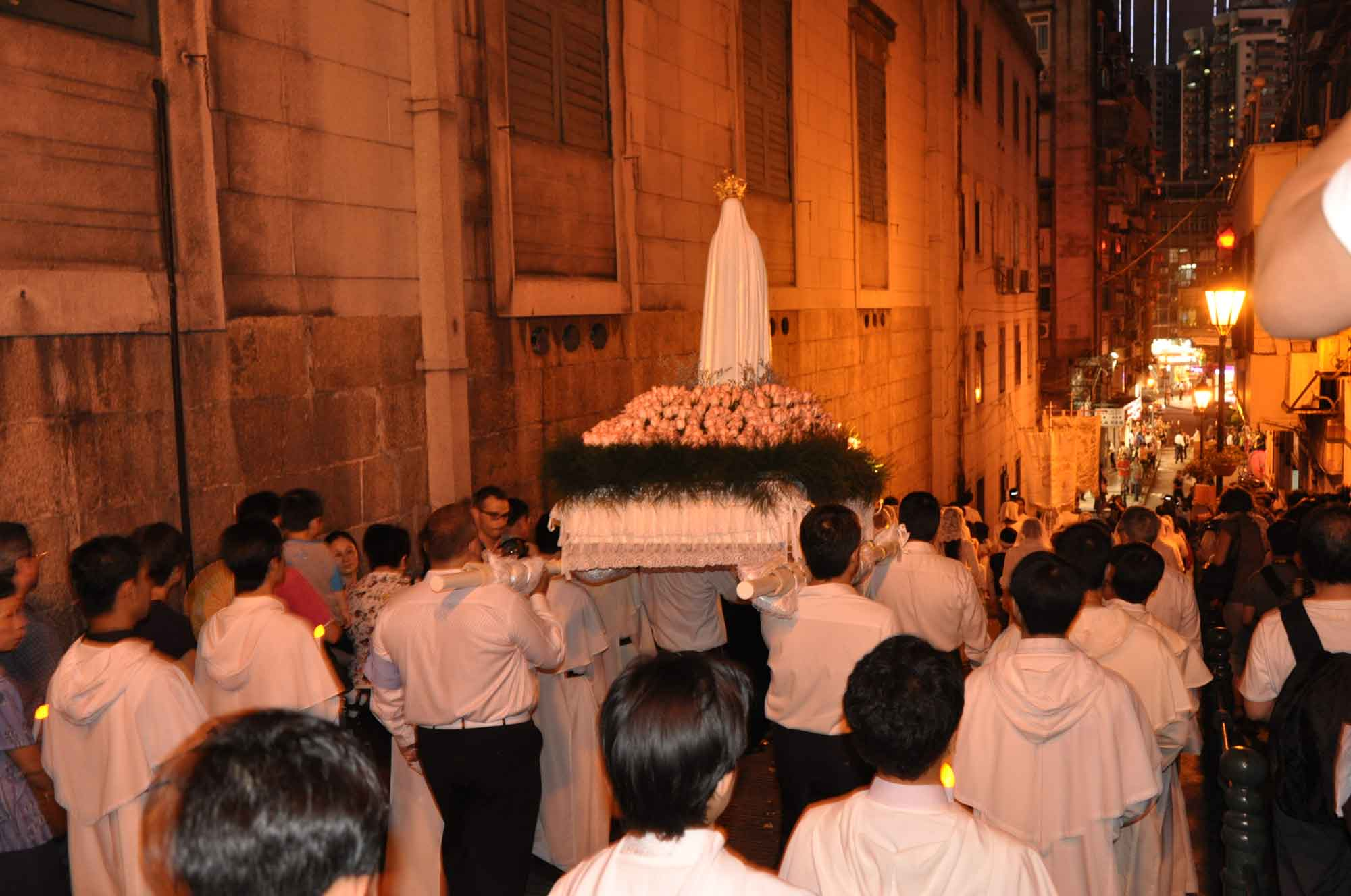 Macau's Our Lady of Fatima Procession outside of Cathedral Macau