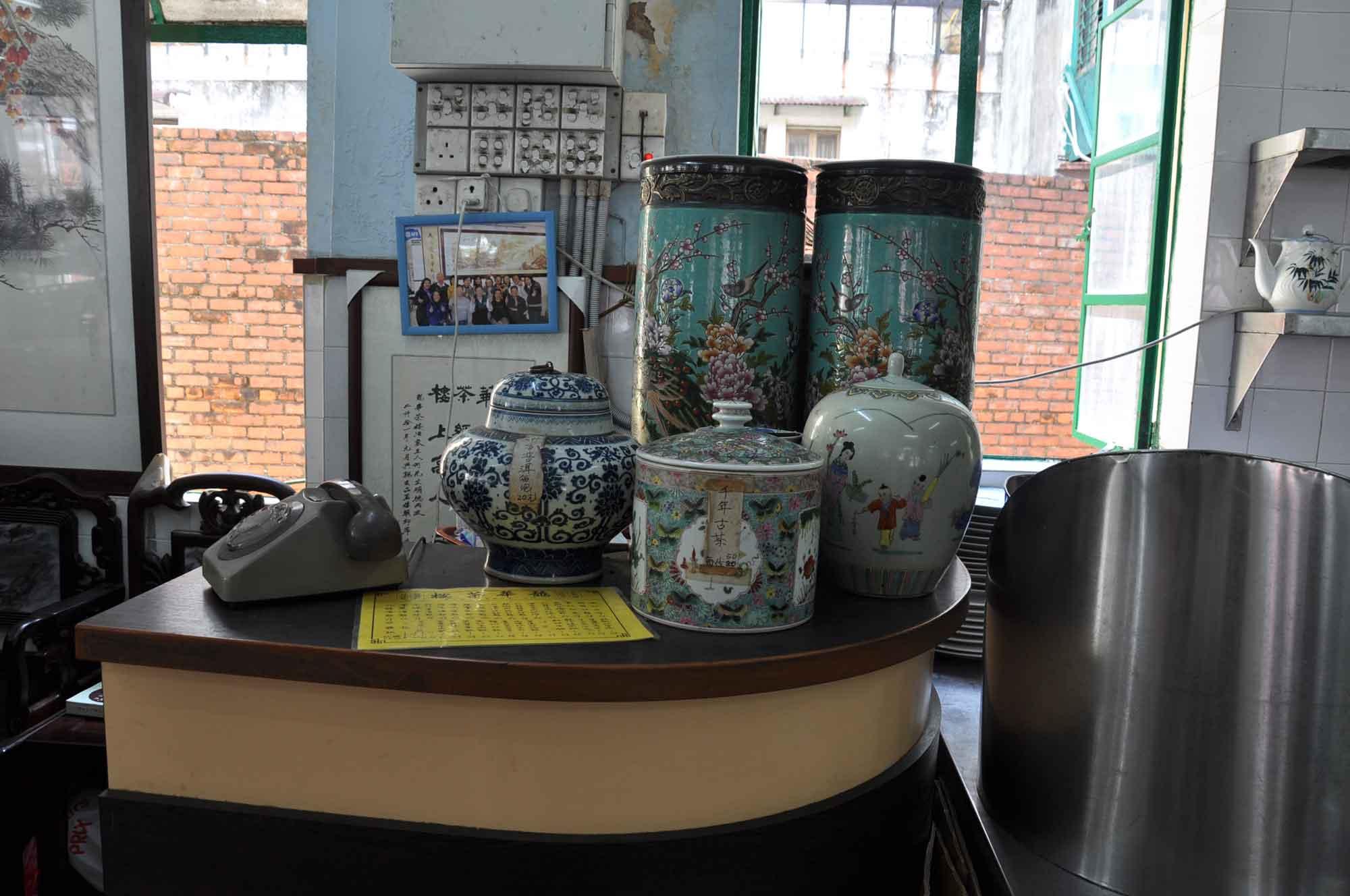 Long Wa Teahouse rotary phone and vases