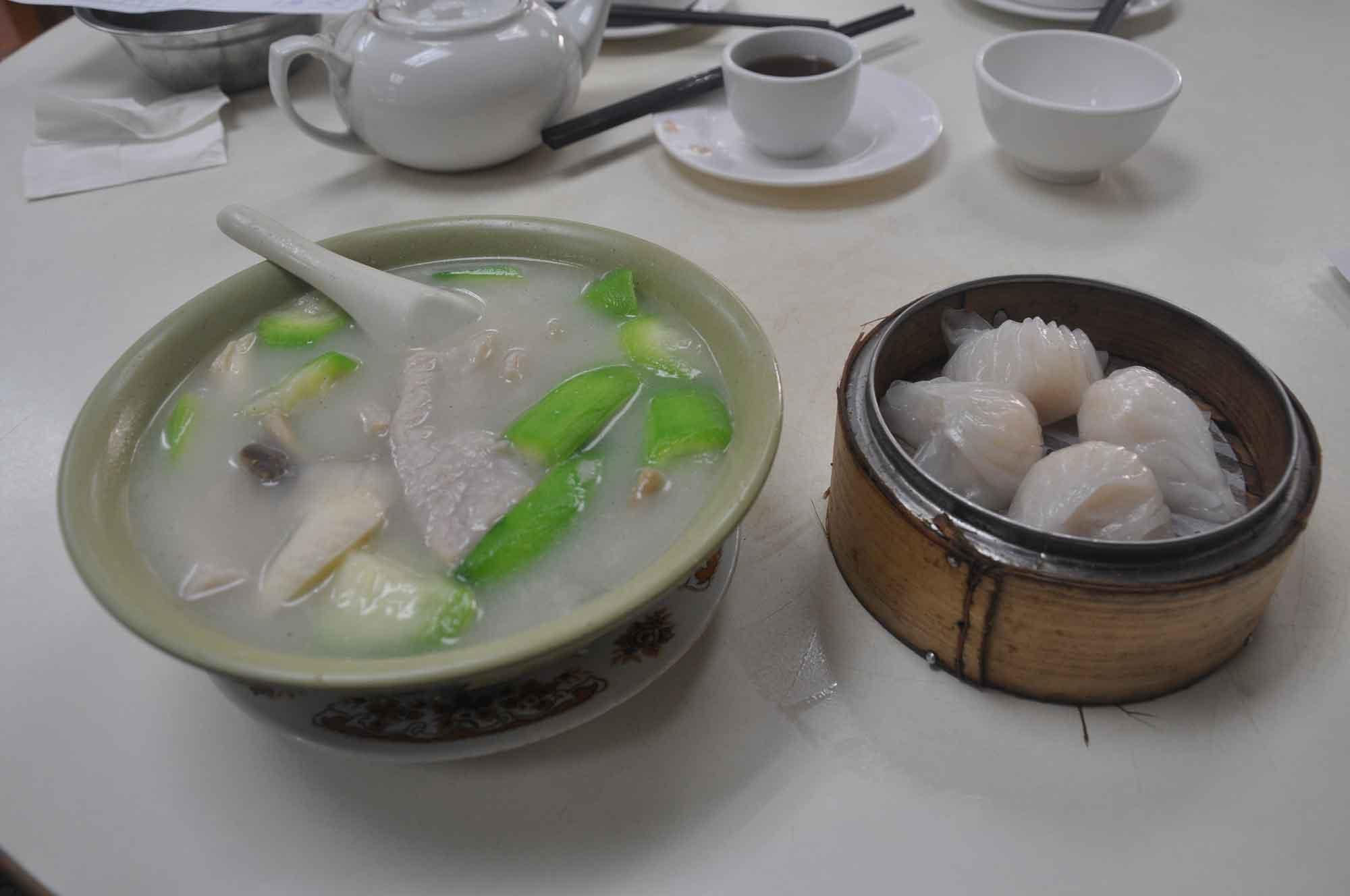 Tai Long Fong shrimp dumplings and pork soup
