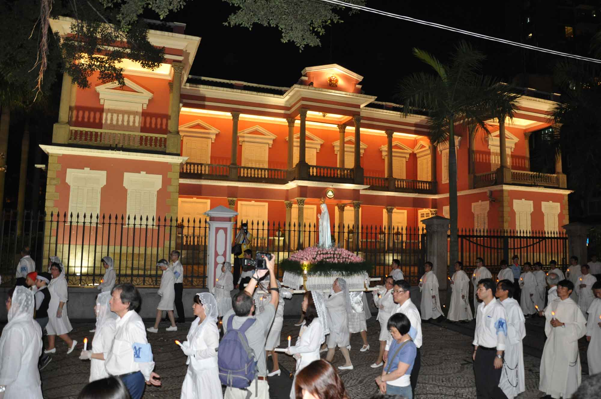Macau's Our Lady of Fatima Procession outside of Praia Grande red building