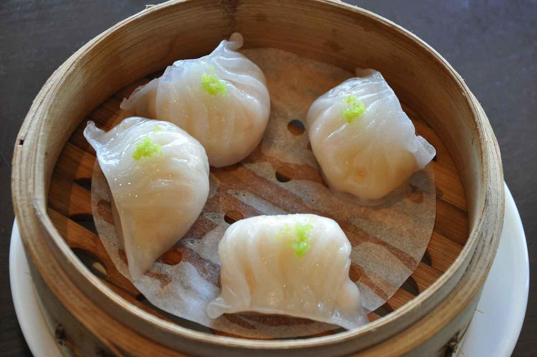 La Chine Macau Eiffel Tower Shrimp Dumplings with Wasabi Roe