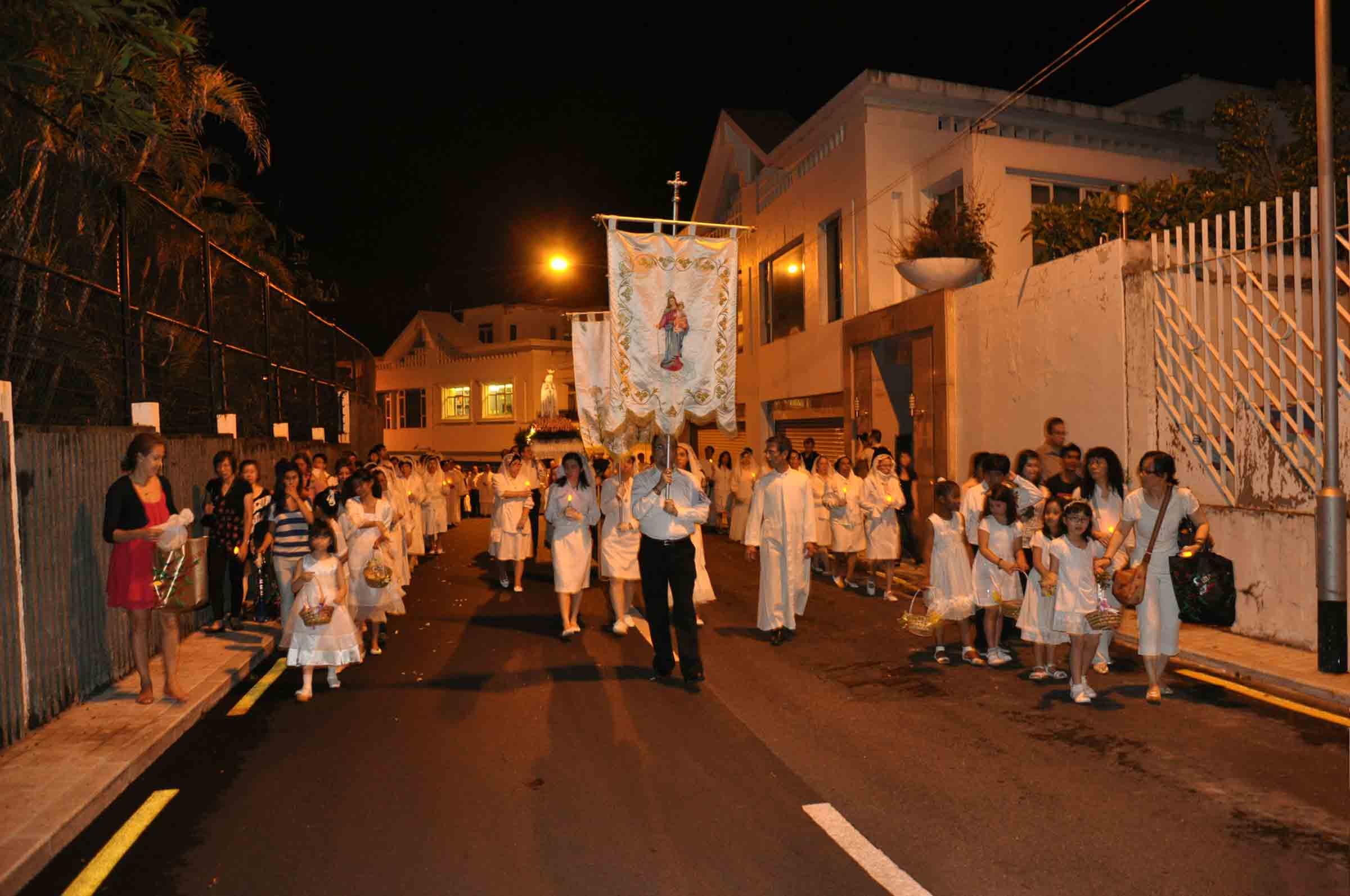 Macau's Our Lady of Fatima Procession walking on Penha Hill