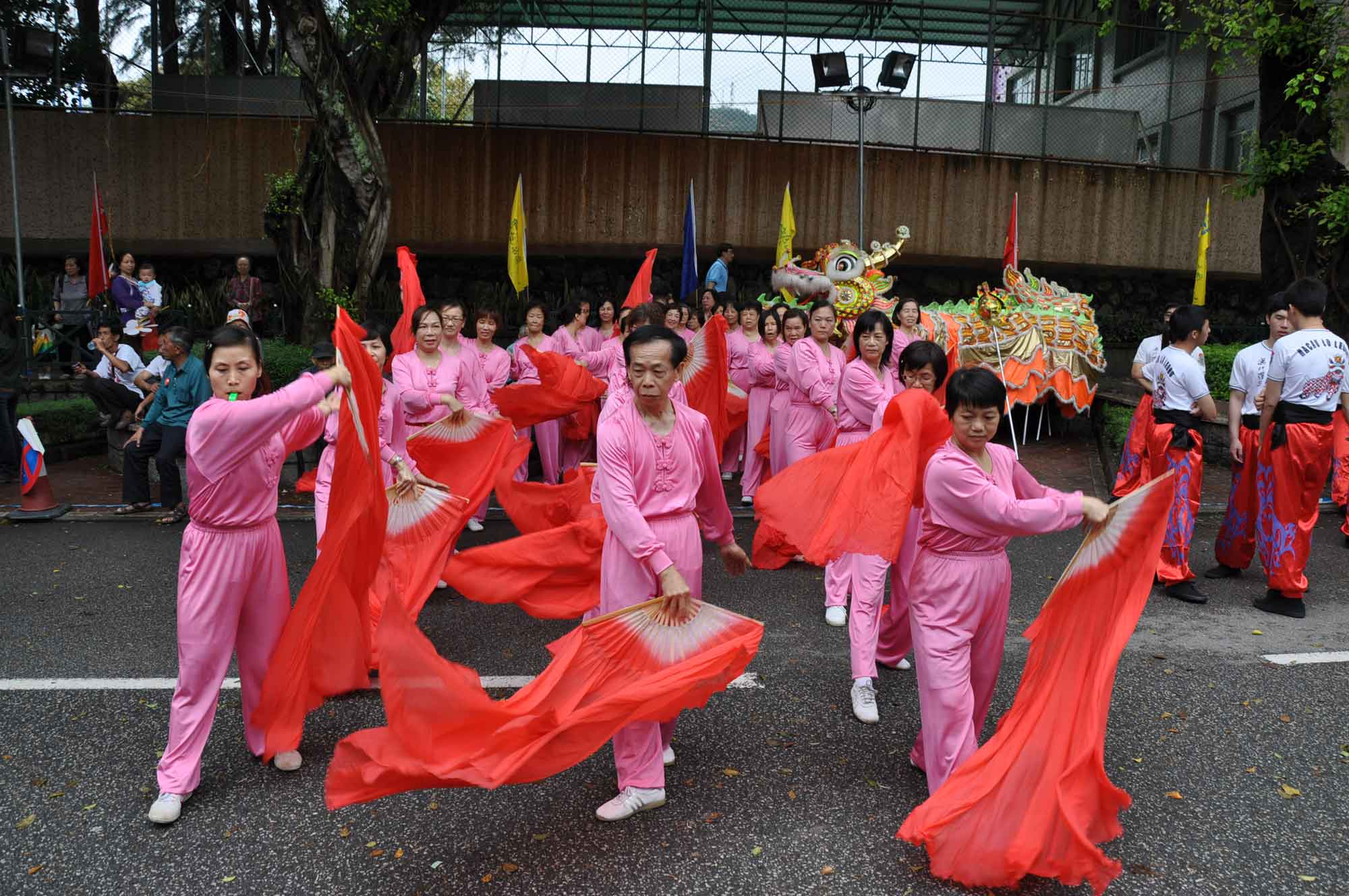 Tam Kong Festival 2012 traditional dance with red flags