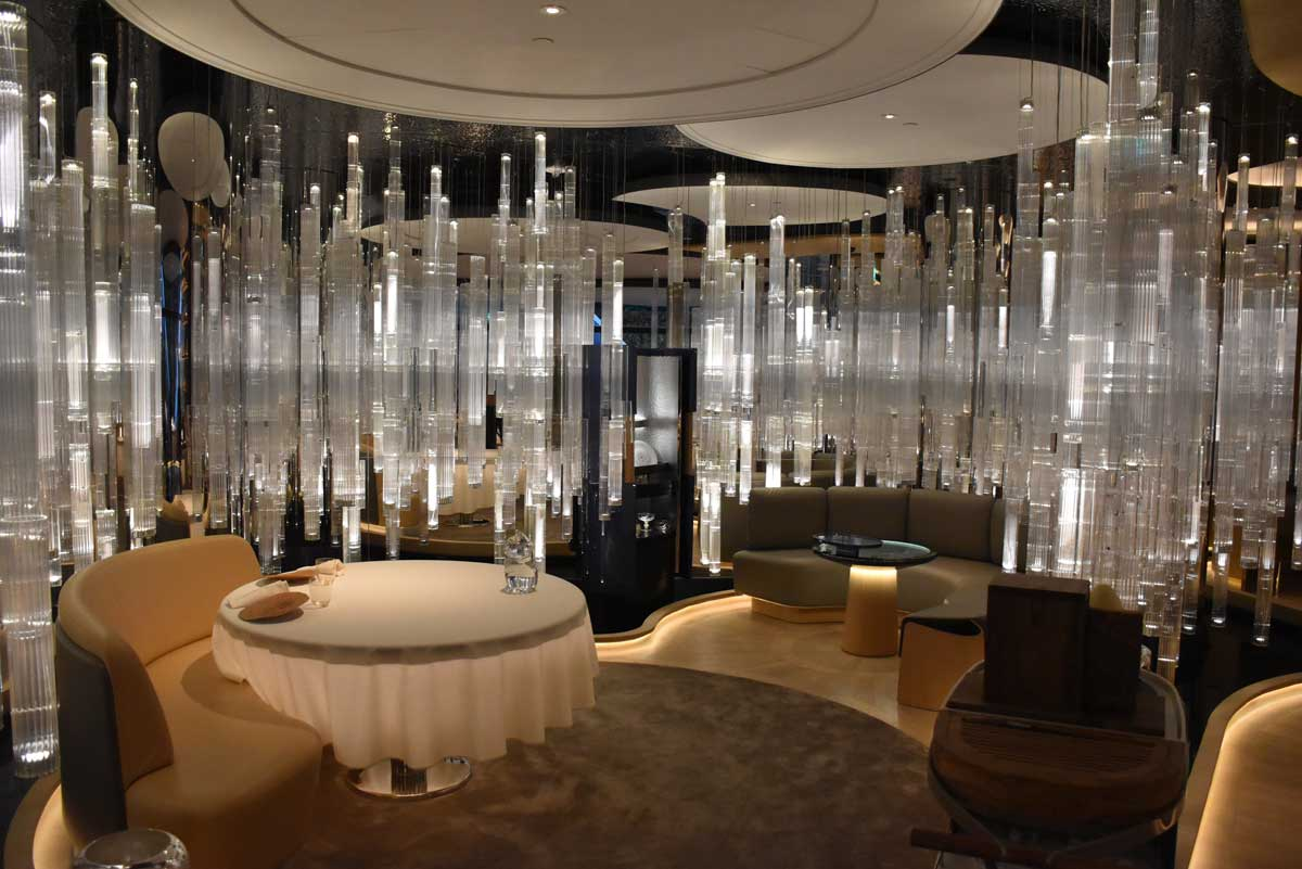 Alain Ducasse Macau seating and crystal