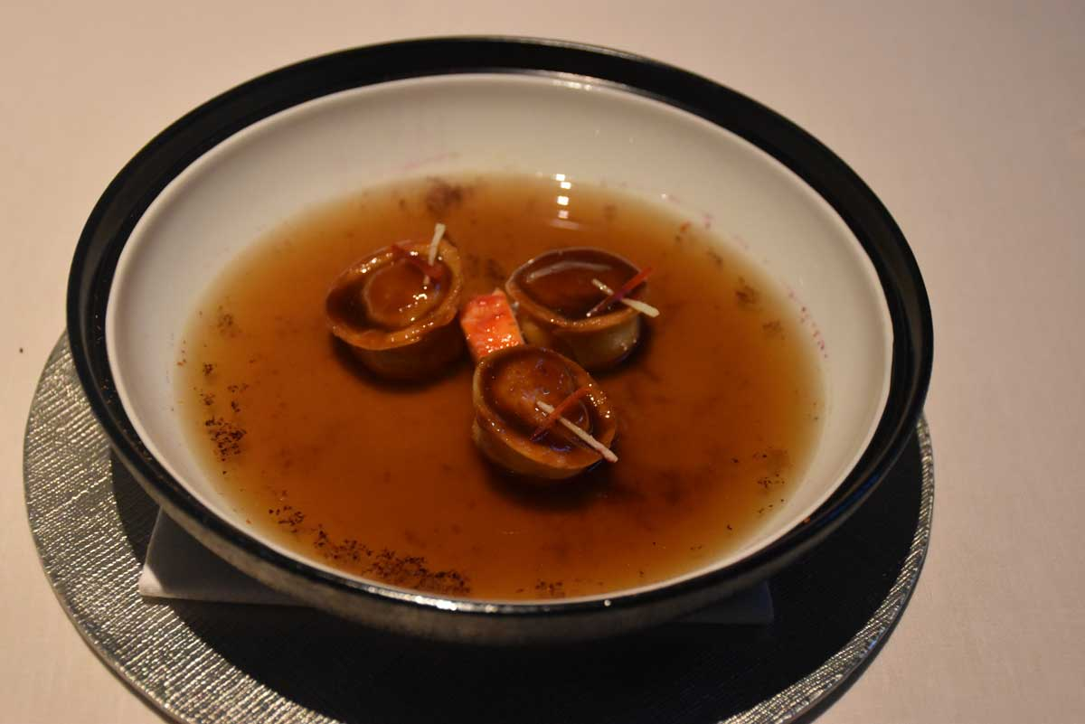 Alain Ducasse Macau Delicate Crab Broth with Hibiscus Infusion Soup