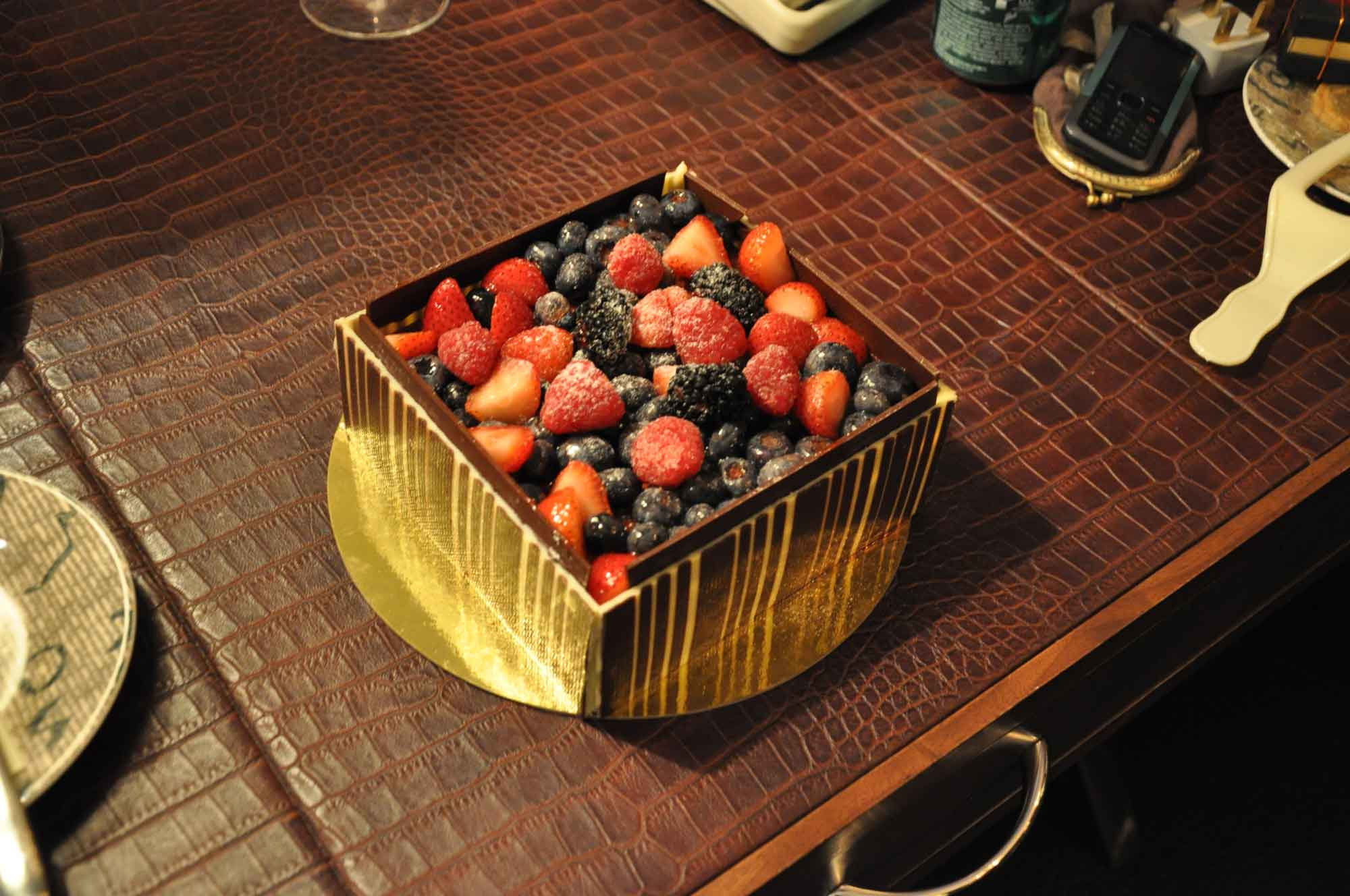 Lisboa Dessert Stand Chocolate Cake with fruit