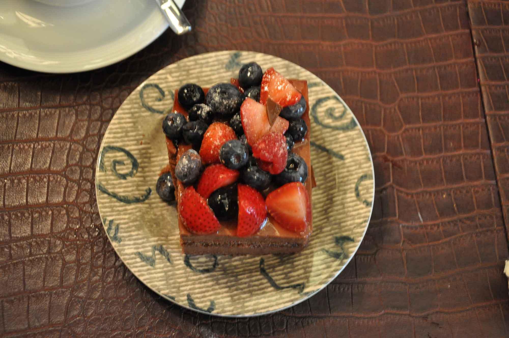 Lisboa Dessert Stand Chocolate Cake with fruit