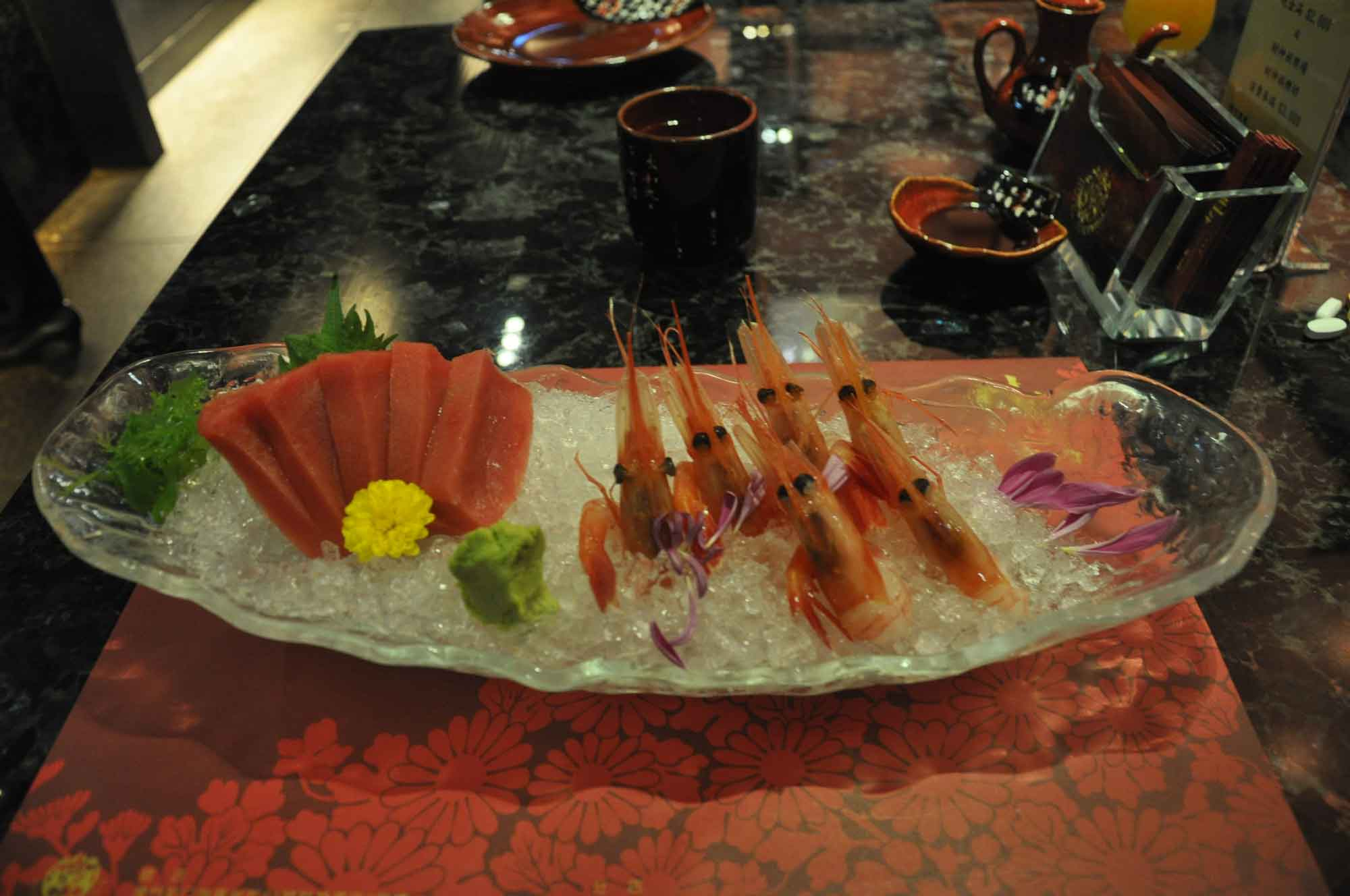 Fortuna Japanese Restaurant sweet shrimp and tuna sushi