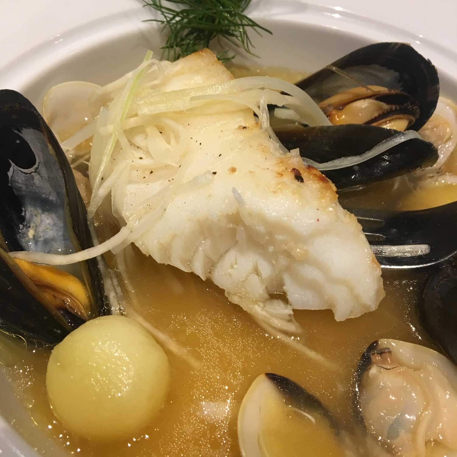 Famous Macau Dishes: Codfish with a Bouillabaisse Jud and Rouille at IFTEducational Restaurant
