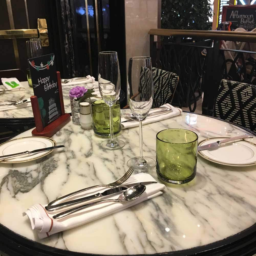 Ritz-Carlton Cafe Macau table and plates