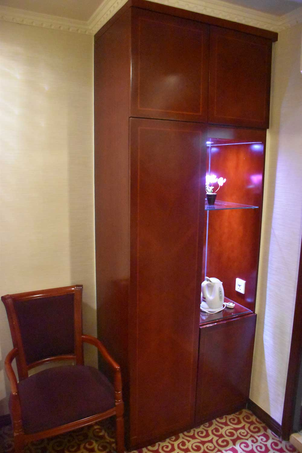 East Asia Hotel chair and wood cabinet