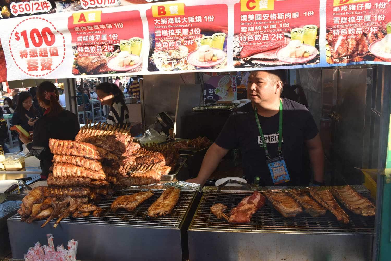 Macau Food Festival man selling barbecue meat