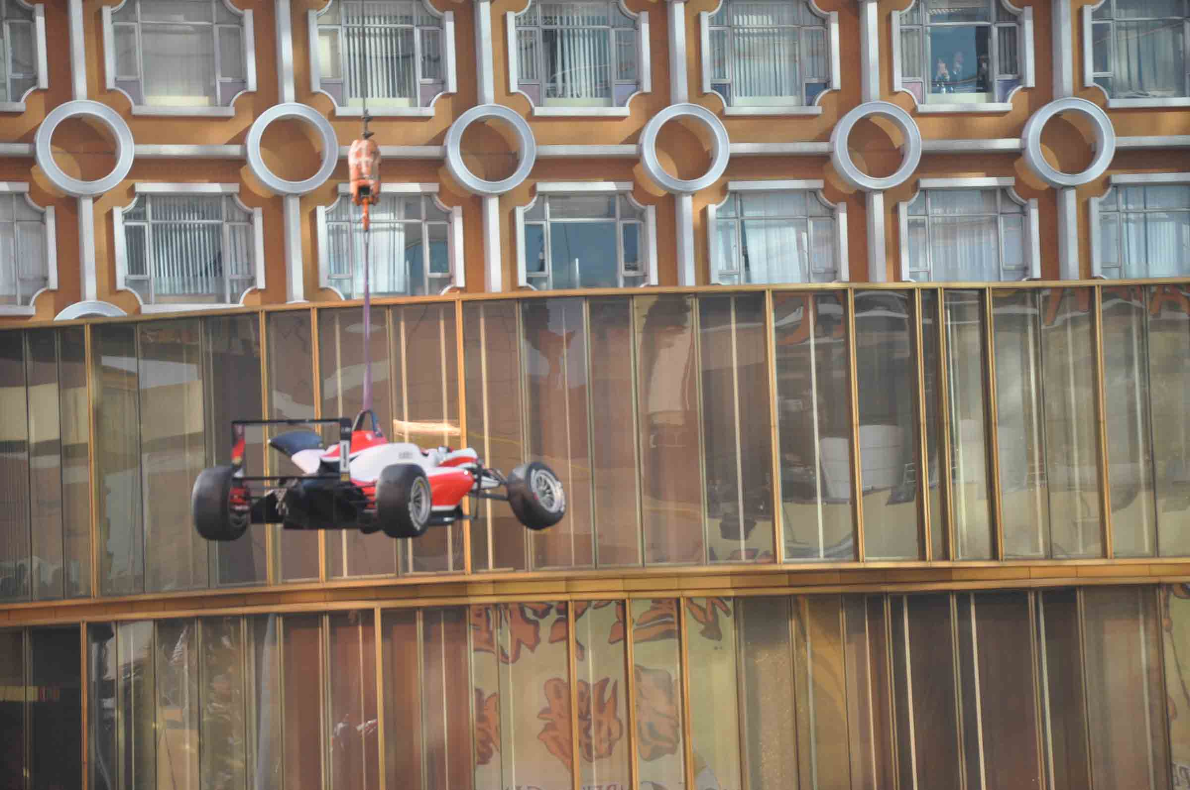 Macau F3 Grand Prix Race race car in mid air