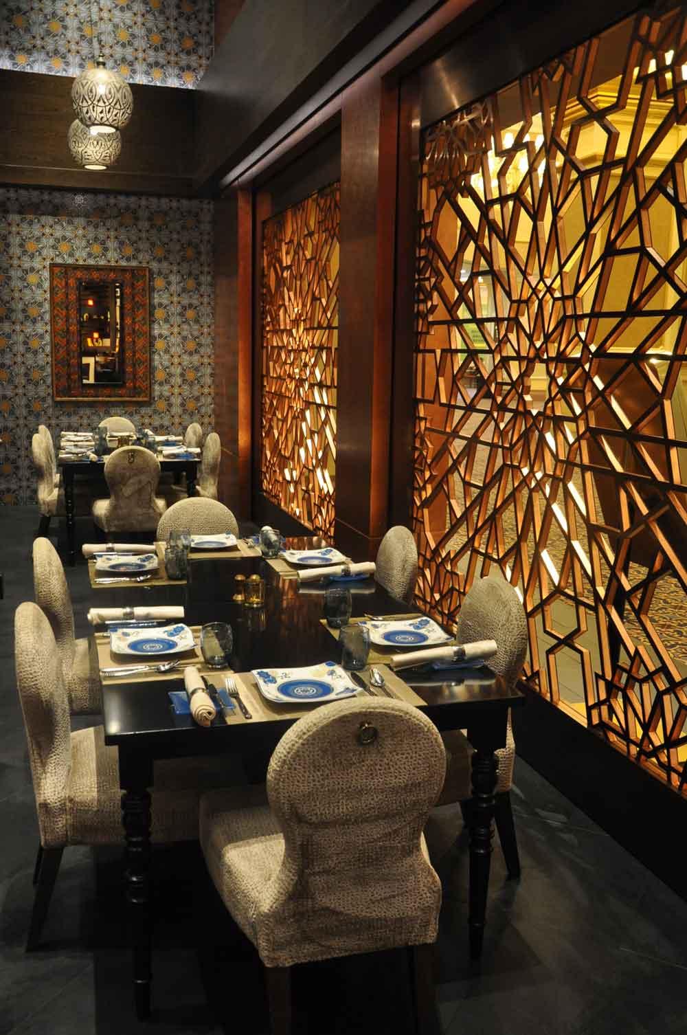 Golden Peacock Macau tables and lattice window