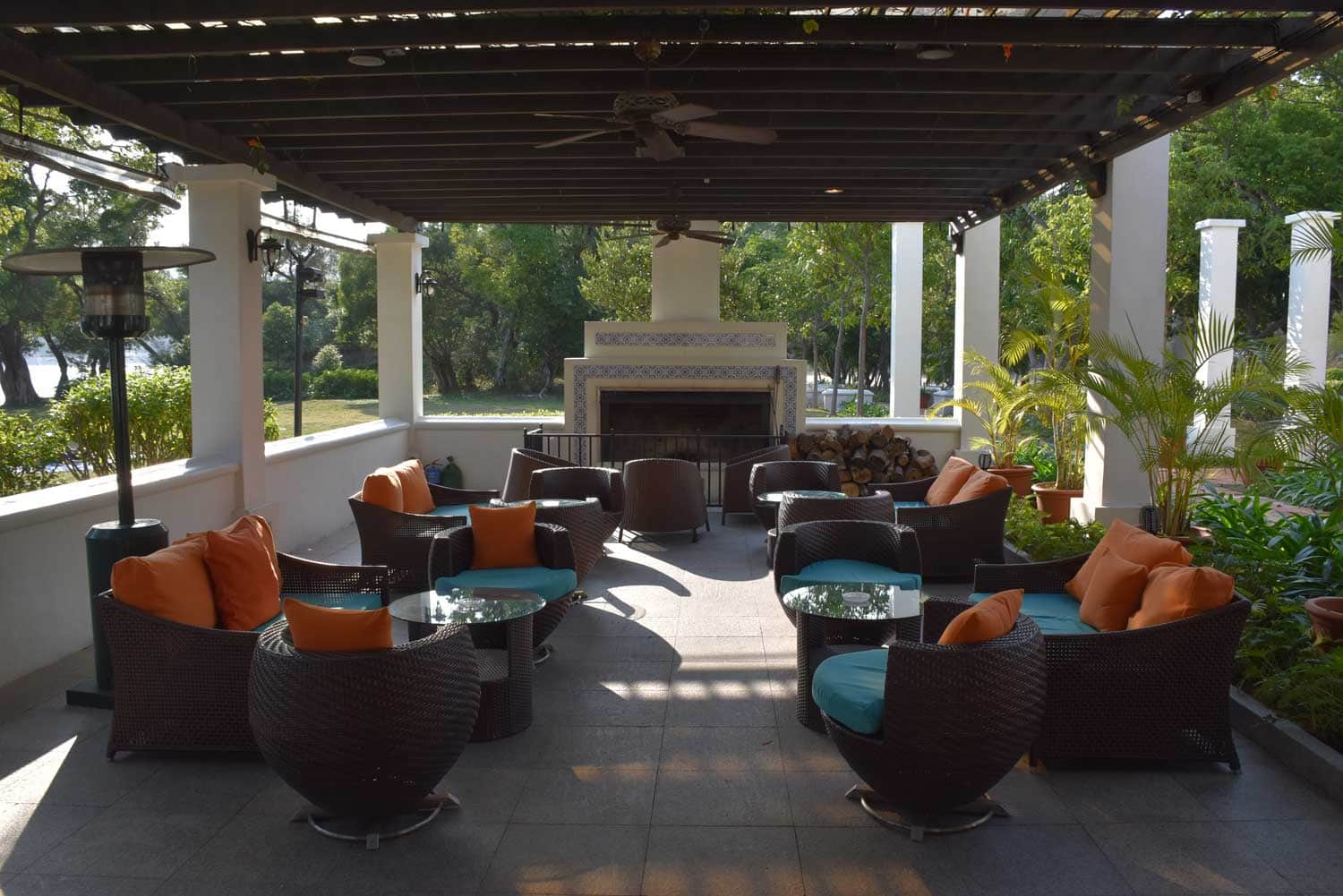 Grand Coloane Resort outdoor fireplace