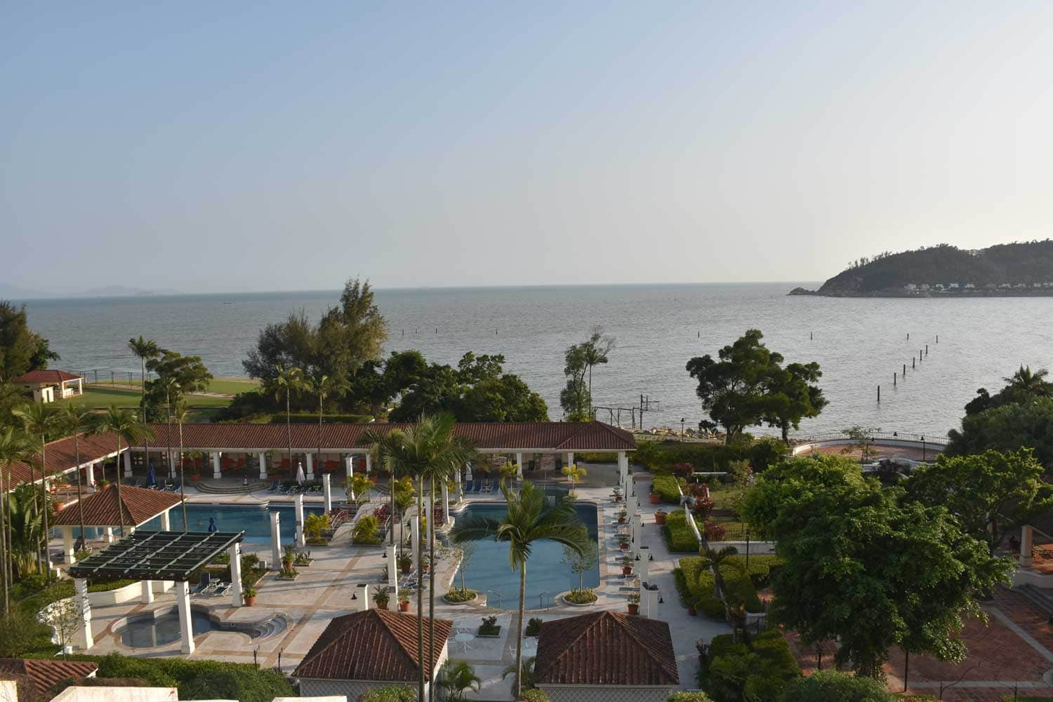 Grand Coloane Resort Suite outdoor pool and Hac Sa Beach