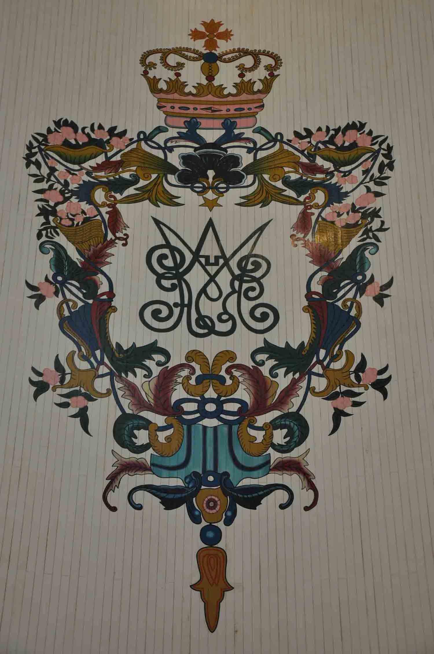 St. Dominics Church Macau ceiling symbol with crown